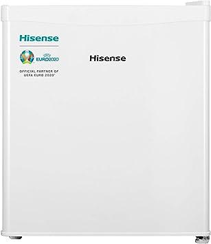 Oferta amazon: Hisense RR55D4AW1 - Mini Bar, Frigorífico Pequeño, 42L de Capacidad Neta, 51 Cm Alto, Table Top, Una Puerta Reversible, Clase A+, Bajo Encimera, Color Blanco, Silencioso           [Clase de eficiencia energética A+]