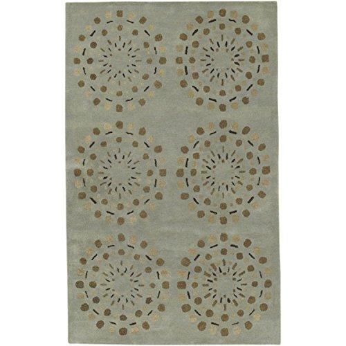 CC Home Furnishings 8' x 11' Asian Lotus Blue Haze and Brown Rectangular Wool Area Throw Rug