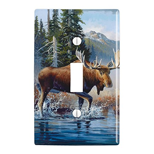 GRAPHICS & MORE Moose in The River Forest Woods Wilderness Plastic Wall Decor Toggle Light Switch Plate Cover ()