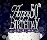 Happy 50th, Birthday Cake Topper, Crystal Rhinestones on Silver Metal, Party Decorations, Favors