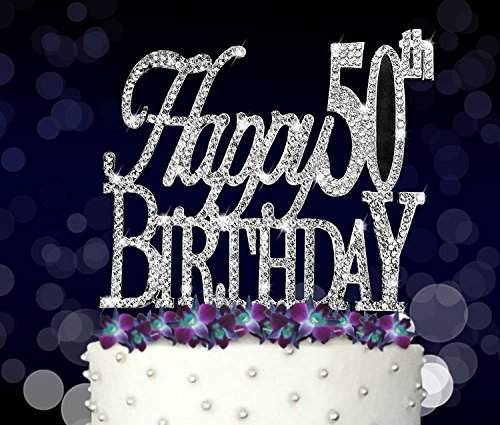Happy 50th, Birthday Cake Topper, Crystal Rhinestones on Silver Metal, Party Decorations, Favors by FAJ