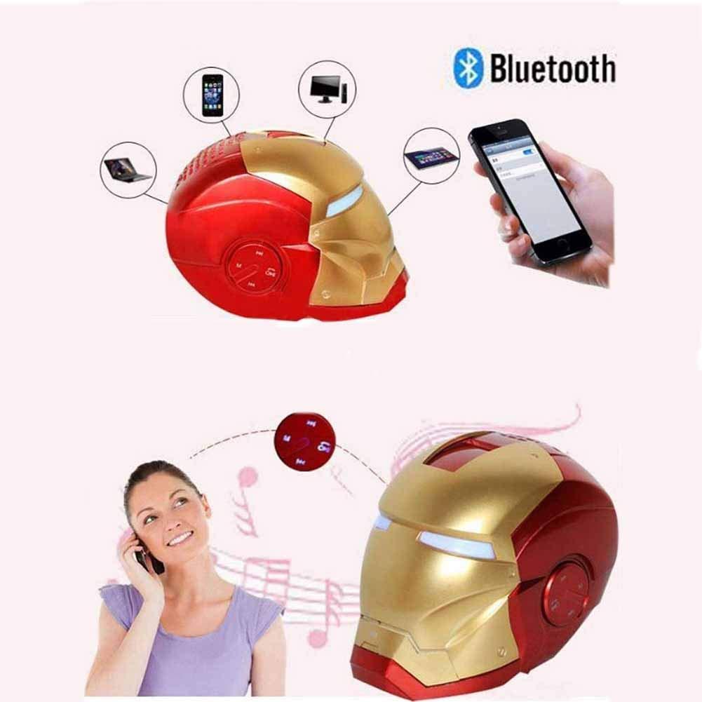 RRQS Iron Man Bluetooth-Lautsprecher Drahtloser Smart-Radio-Bass-Karten-Telefon-Lautsprecher-Lautsprecher,Redyellow