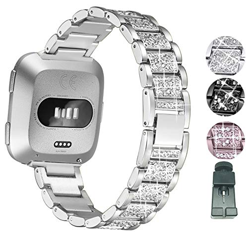 Sannyway Compatible with Fitbit Versa Bands Replacement with Bling Rhinestones Metal Stainless Steel Bracelet Wristband Strap Accessory (Silver)