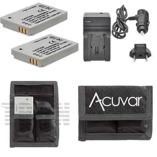 (2 NB-5L Rechargeable Batteries + Car / Home Charger + Acuvar Battery Pouch for Canon PowerShot S110, SD700 IS, IS Digital ELPH, SD790IS, SD800 IS Digital ELPH, SD850, SD870, SD880, SD890, SD950, SD970 and Other Models)