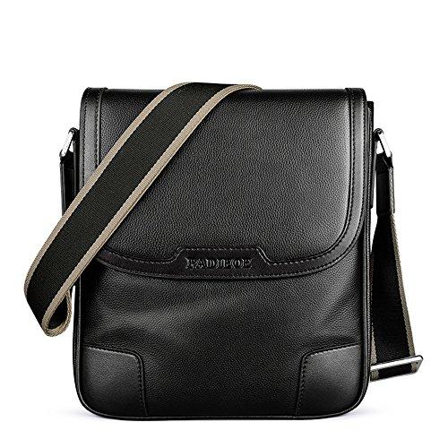 Negro pecho primer el hombro de hombros hombres bandolera caballo de de Padieoe para sobre cuero bolso de de moda o Sn7AxzHpwq