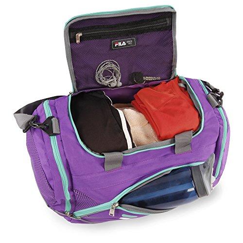 """51M12PTgJ L - Fila Sprinter 19"""" Sport Duffel Bag, Purple/Teal - FL-SD-2719-PLTL"""