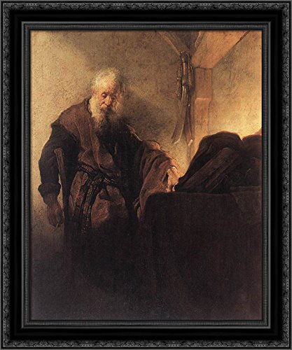 St. Paul at his Writing Desk 20x20 Black Ornate Wood Framed Canvas Art by Rembrandt