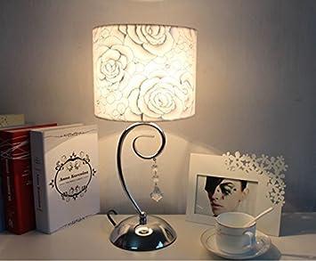 FGHOME Simple chambre moderne Table de chevet lampe Argent rose mode ...