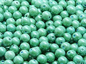 50pcs 6mm Czech Pressed Glass Beads Round Chalk Green Luster