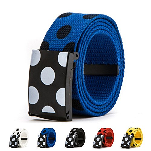 Fashion Polka Dots Belt, FuzzyGreen Casual Unisex Adult Canvas Fabric Woven Web Buckle Belts (Blue)