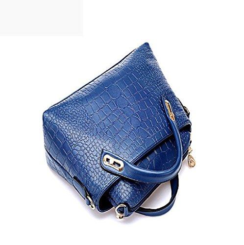 Sannysis® Bolso de las mujeres; Monedero de mano; Hobo Bolsa de cuero (Negro) Azul
