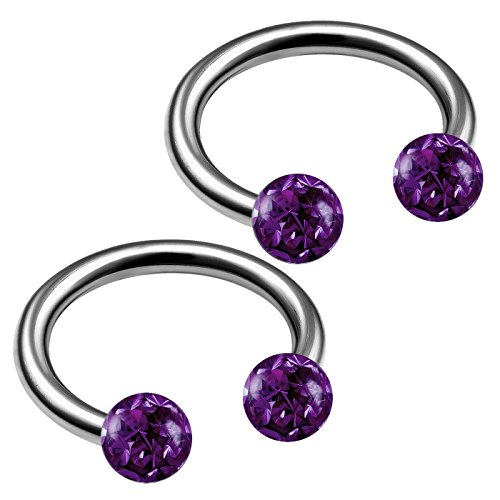 bodyjewellery 2pcs 16g Circular Barbells Titanium G23 Snake Helix Septum Lip Cartilage Ear Barbell Nose Bite Ring Tragus Eyebrow B2ECA