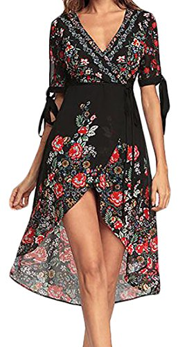 Boho Sexy Deep Low Beach V Flower Dress Black High Cromoncent Chiffon Womens Neck C0qST5Hwx