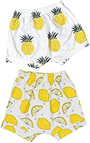 BIGBUY 2pcs Summer Baby Fruit Printed Cotton Shorts Harem Pants Bloomers for 0-4 Years Old