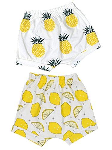 (BIGBUY 2pcs Summer Baby Fruit Printed Cotton Shorts Harem Pants for 0-4 Years Old (3T, Pineapple+Lemon))