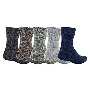 Zmart 5 Pack Mens Knitted Warm Wool Fall Winter Quarter Socks