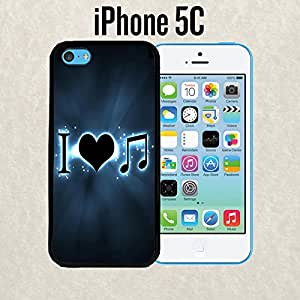 iPhone Case I Love Music Neon for iPhone 5c Rubber Black (Ships from CA)