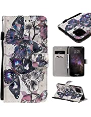 """Wallet Leather Case for iPhone 11 Pro Max 6.5"""" 2019,Aoucase Ultra Slim Fancy 3D Painted Full Body Soft Silicone Card Slot Strap Stand PU Leather Case with Black Dual-use Stylus,Black Butterfly"""