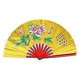 Chinese Fan Tai Chi Kung Fu Folding Fan Martial Arts Kung Fu Bamboo Silk Fan Right Hand Wushu Dance Pratice Training(Gold)