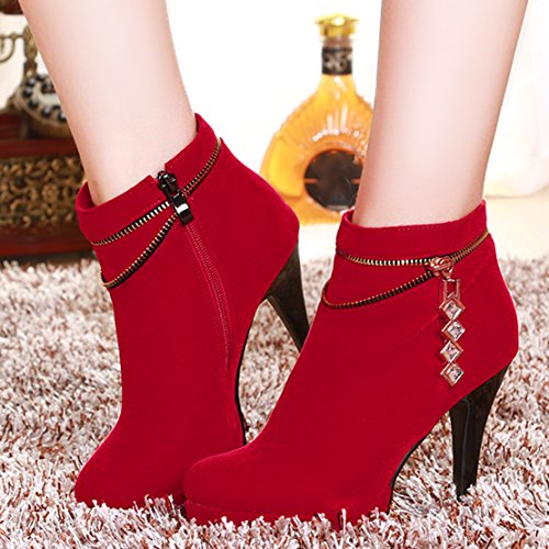 AIYOUMEI Damen Stiletto High Heels Stiefeletten mit Reißverschluss und Strass Elegant Modern Kurzschaft Stiefel Rot