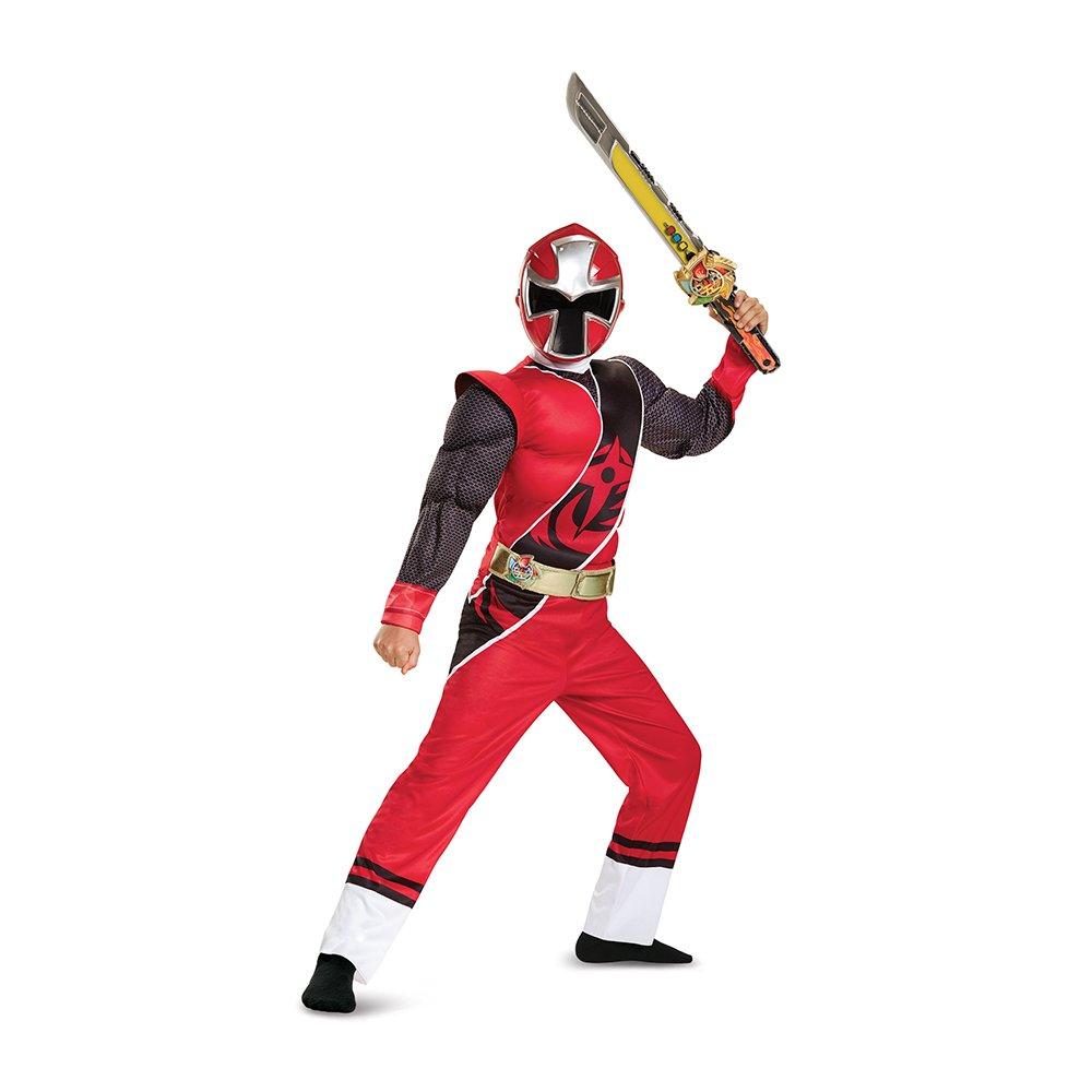 Power Rangers Ninja Steel Muscle Costume, Red, Large (10-12)