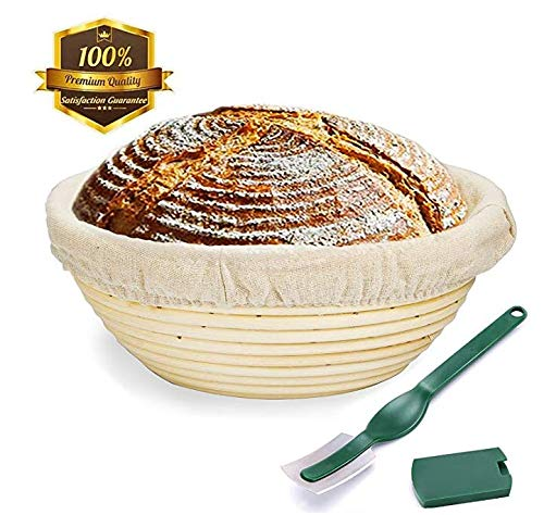 9 Inch Bread Proofing Basket,WERTIOO Banneton Proofing Basket + Dough Scraper + Linen Liner Cloth for Professional & Home Bakers (Sourdough Recipe) (9 Inch) by WERTIOO