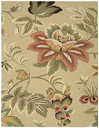 Rug Squared Laurel Floral Area Rug (LA11), 8-Feet by 10-Feet 6-Inches, Beige