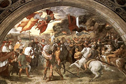 Raphael The Meeting of Leo The Great and Attila Italian High Renaissance Fresco Art Mural Giant Poster 54x36 inch ()