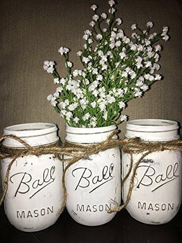 Decorative Mason Jars (Distressed White Chalk Painted Ball Mason Jars (Set of 3))