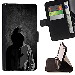 DEVIL CASE - FOR Apple Iphone 6 PLUS 5.5 - Anonymous Faceless Mask Hood Sweatshirt Man - Style PU Leather Case Wallet Flip Stand Flap Closure Cover