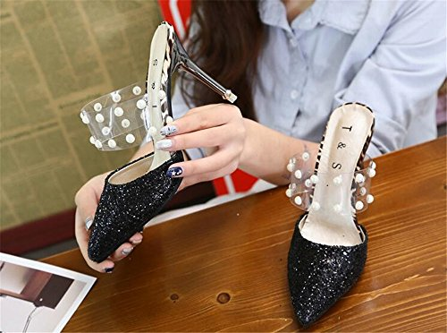 Heels high 1 Handmade Pointed Shoes Toe Women's Black Heeled high MINIKATA Sandals Slipper ICpw1xqx