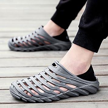 WXMTXLM Zapatillas de verano Zapatillas de tacón de verano para hombres zapatos con orificio para los