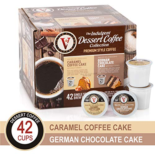 Cake Collection Variety Pack with Caramel Cake & German Chocolate for K-Cup Keurig 2.0 Brewers, 42 Count, Victor Allen's Coffee Single Serve Coffee Pods