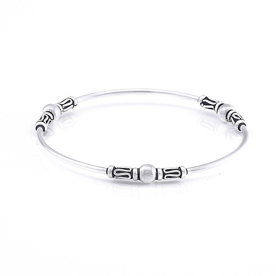 Silverly Women's .925 Sterling Silver Balinese Wire Scrollwork Bangle Bracelet