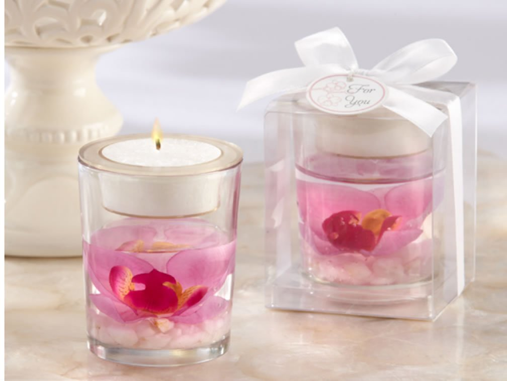 60 PCS - Elegant Purple Faux Orchid in Gel Tealight Candle Holder