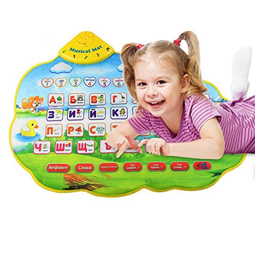 A-Z Alphabet Learning Play Mat,Touch Letter Number Musical Mat - Educational Games Floor Carpet Toys for Toddlers Girls Boys Kids1-13 Years Old Gift,73x49CM (Multicolor) ()