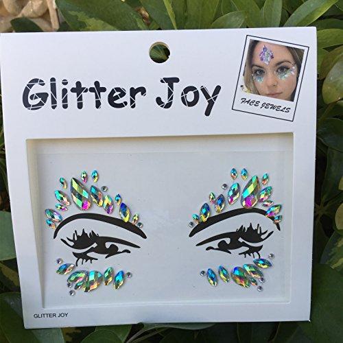 DaLin Face Gems Rave Festival Jewels Stick On Crystals Bindi Rainbow Tears Rhinestone Temporary Tattoo Face Rocks Body Stickers SFA003 (AB Color) (Stick On Eye Gems)
