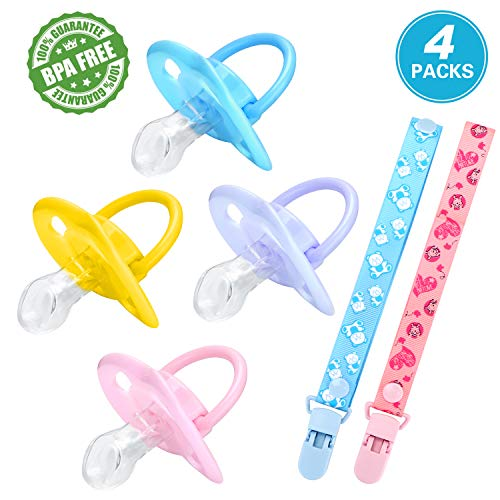 Baby Pacifiers 6+ Months, Orthodontic Infant Toddler Silicone Pacifier for Breastfeeding Babies 4 Pcs with Pacifier Case & Clips - BPA Free from TOPOINT