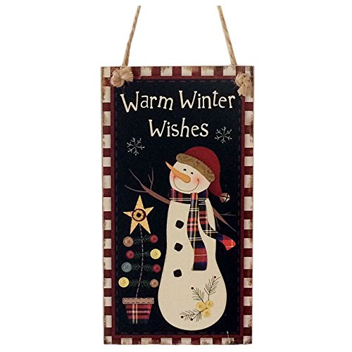 (Plaques & Signs - Nocm Warm Winter Wishes Snowman Hanging Board Wooden Rectangle Wall Sign Christmas Party Decoration - Decoration Wood Decorative Hanging Signs Board Decor)