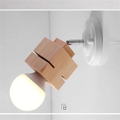 Lámpara de pared de madera nórdica, porche, escalera, pasillo, luces, balcón, madera, arte, lámparas de madera, color beige 002: Amazon.es: Iluminación