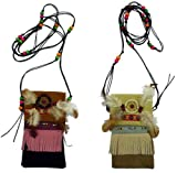 2 Pieces of the Leather Beaded Dream Catcher Pouch with Feathers