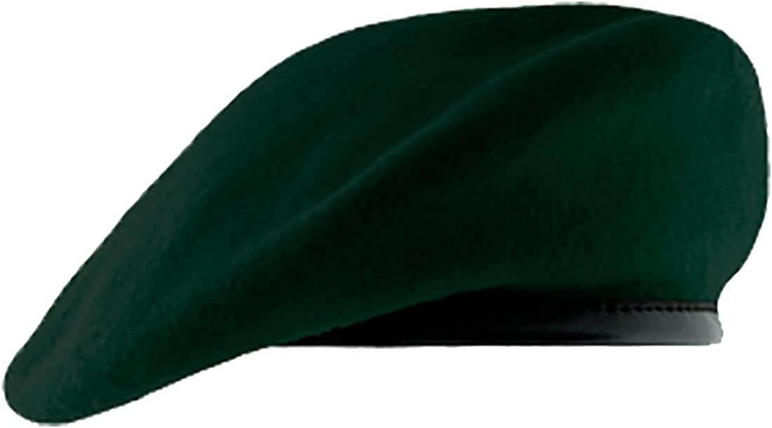 Size 7 1//4 Green Wool Military Style Beret Berret NEW