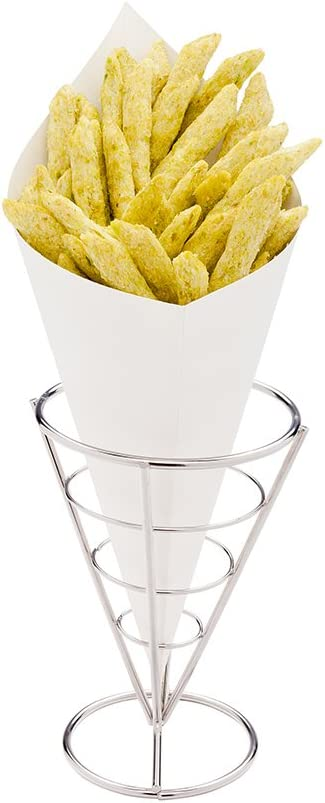 Conetek 11.5-Inch Eco-Friendly White Finger Food Cones: Perfect for Appetizers - Food-Safe Paper Cone - Disposable and Recyclable - 100-CT - Restaurantware