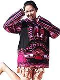 RaanPahMuang Brand Thin Bright Dashiki Windbreaker Hoody Long Sleeve, X-Large, Black With Pink