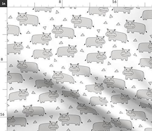 Spoonflower Hippo Fabric - Scandinavian Triangle Boy Kids Nursery by Andrea Lauren Printed on Petal Signature Cotton Fabric by The ()