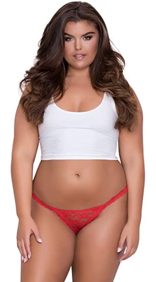 ba587bbab Image Unavailable. Image not available for. Color  Yandy Plus Size Low Rise  Lace Bikini - Red 3X 4X Queen Size Panty