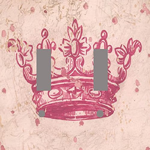 PRINCESS TIARA PINK CROWN DOUBLE Light Switch Plate Cover