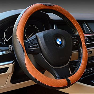 ZATOOTO Genuine Leather Car Steering Wheel Cover Luxury Breathable Antiskid
