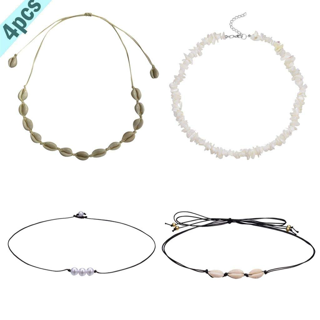 DDLmax 4 Pieces Natural Shell Necklaces Freshwater Pearl Choker Chips Shell Necklace Hawaiian Style Necklace for Women Girls