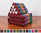 Leewadee Foldout Triangle Thai Cushion, 67x21x3 inches, Kapok Fabric, Blue Red, Premium Double Stitched